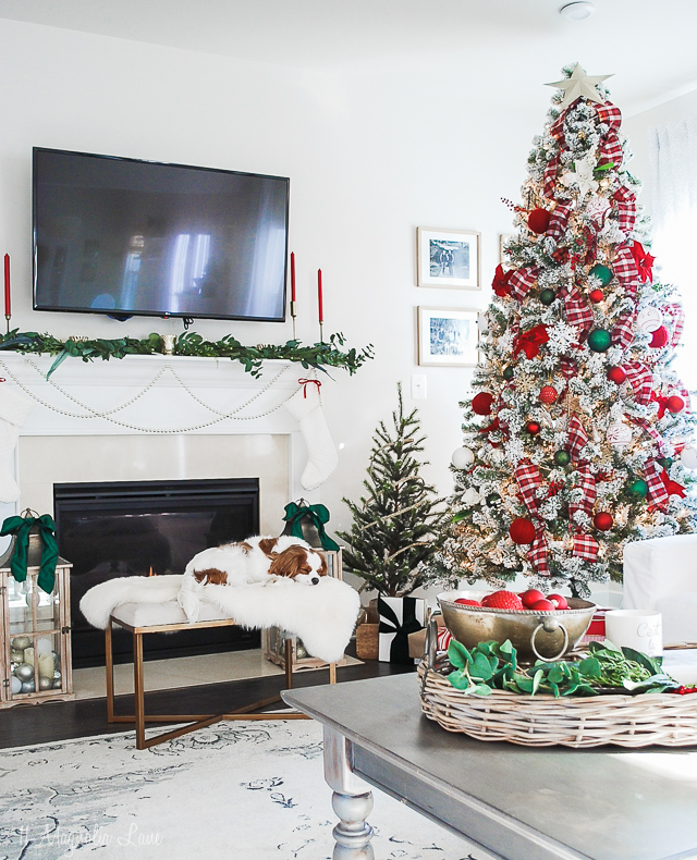 Holiday Home decorated in traditional Christmas colors