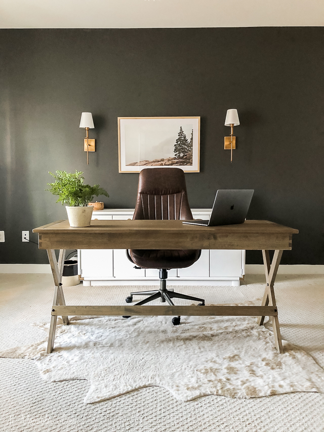 Ideas for decorating a masculine home office workspace