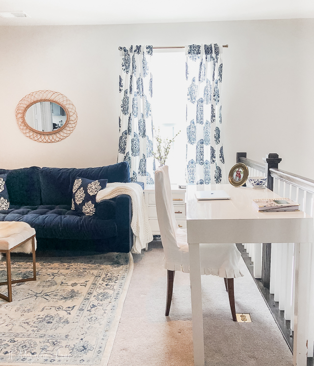 Turning an upstairs loft into a blue and white feminine home office