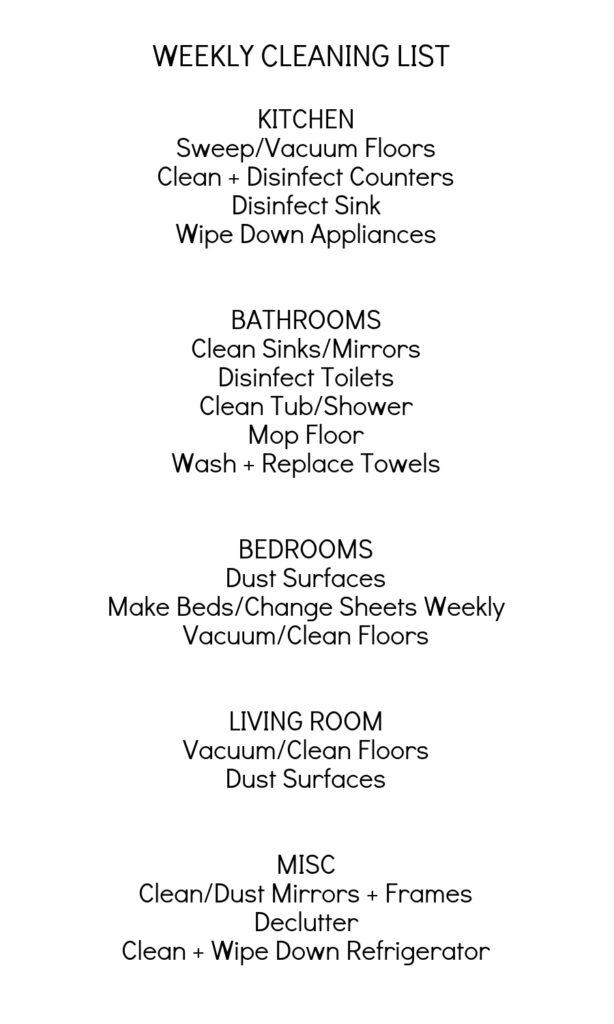 Weekly Printable Cleaning Task List