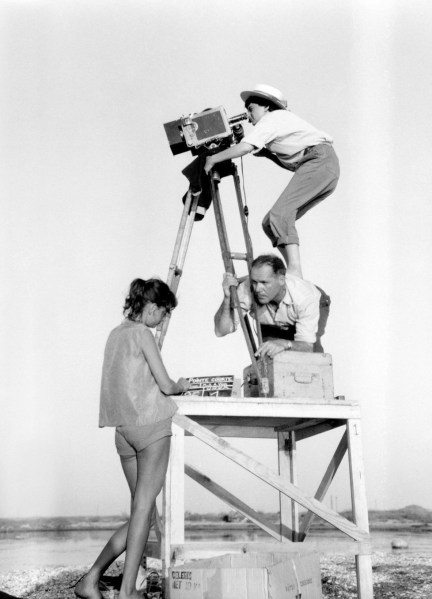French film director and professor at the European Graduate School, Agnès Varda (b. 1928) directing La Pointe Courte (1955)