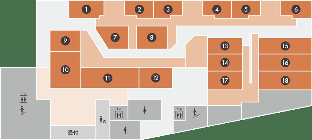 アソビル1Fのグルメストリート「横浜駅東口POST STREET」のフロアマップ