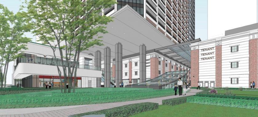 (仮称)馬車道駅直結 横浜北仲タワープロジェクトのガレリアア(吹抜歩行者用回廊)完成イメージ