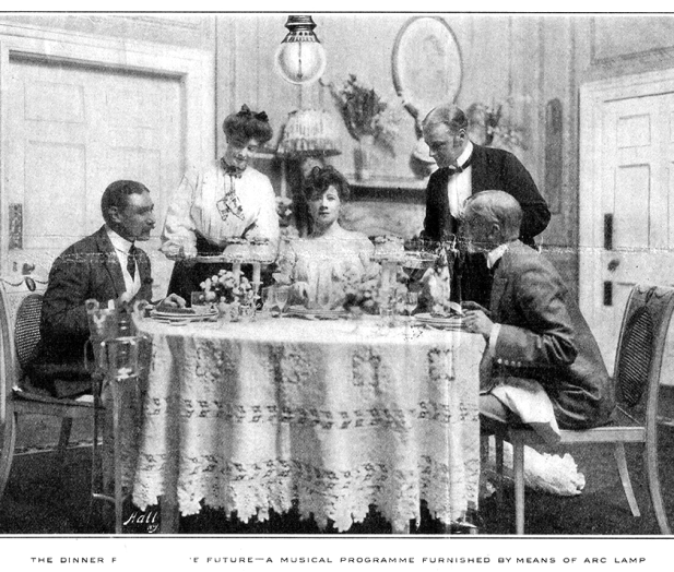 The future of music. A photograph from Gunter's Magazine June 1907 that imagines the future of electronic music played to households through carbon-arc lamps
