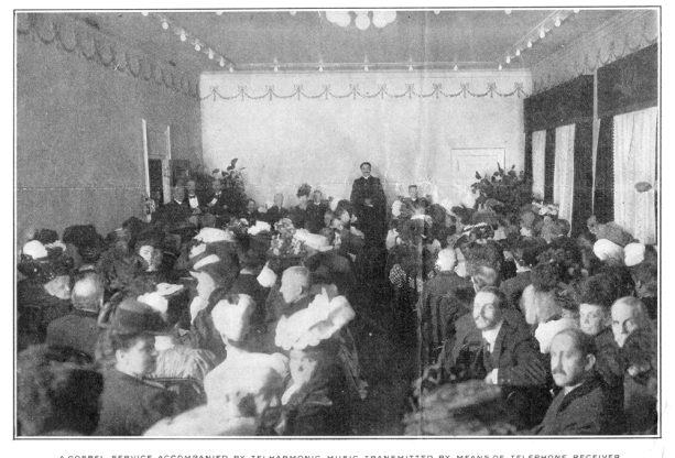 A gospel service accompanied by the Telharmonium at Telharmonic Hall. Gunter's Magazine June 1907