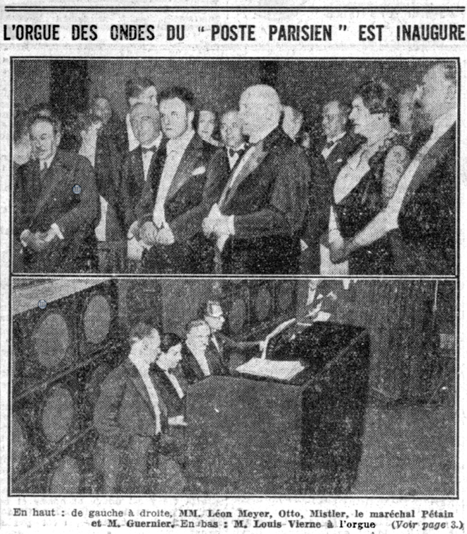 Marshal Pétain reviews the inauguration of the Orgue Des Ondes at the Poste Parisien radio station. Image; 'Le Petit Parisien' 27 October 1932.