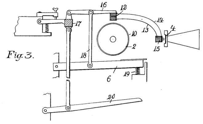 Diagram showing the key-action that moves the magnetic pick-up closer to the sound wheel.