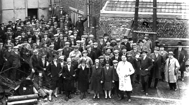 Workers at the Coupleux frères piano and organ workshop at 100 rue du Moulin-Fagot, Tourcoing, Lillle, France c1920