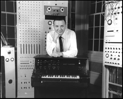 Raymond Scott in his studio with the Clavivox