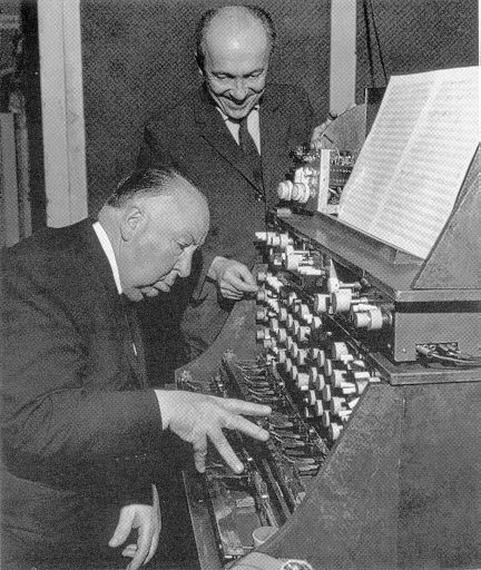 """Oskar Sala and Alfred Hitchcock working on the sound effects for """"The Birds"""""""