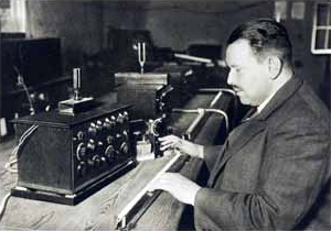 Trautwein demostrating the early Trautonium, showing the pressure sensitive resistant finger-wire controller.