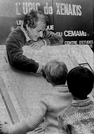 Iannis Xenakis working with schoolchildren at the UPIC system