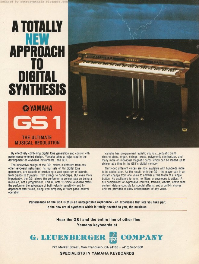 Advert for the GS1 in 1981