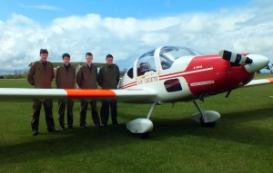 1220 cadets in front of a Vigilant glider at RAF Henlow.