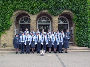 1220 cadets and staff outside the Officers' Mess at RAF Wyton