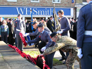 1220 cadets laying wreathes at the war memorial