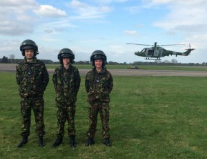 1220 cadets with a Lynx helicopter.