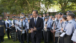 Prime Minister David Cameron with cadets from the ACO National Marching Band