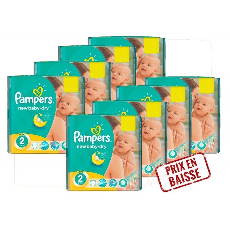 408 Couches Pampers New Baby Dry Taille 2 Petit Prix Sur