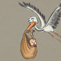 Sketch of the Day: Der Storch bringt die Babys