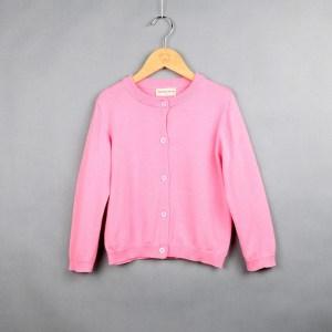 Lente en herfst kinderkleding meisje katoenen gebreide vest trui, kind maat: 90cm (roze)