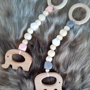 houten chewie bijtring met olifant grijs of roze
