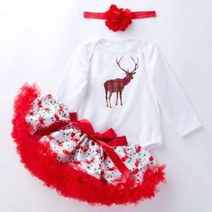 Baby Lange Mouw Cartoon Romper Net Garen Tutu Driedelige Kinderkleding (Kleur: Geruite Herten Maat: 66)