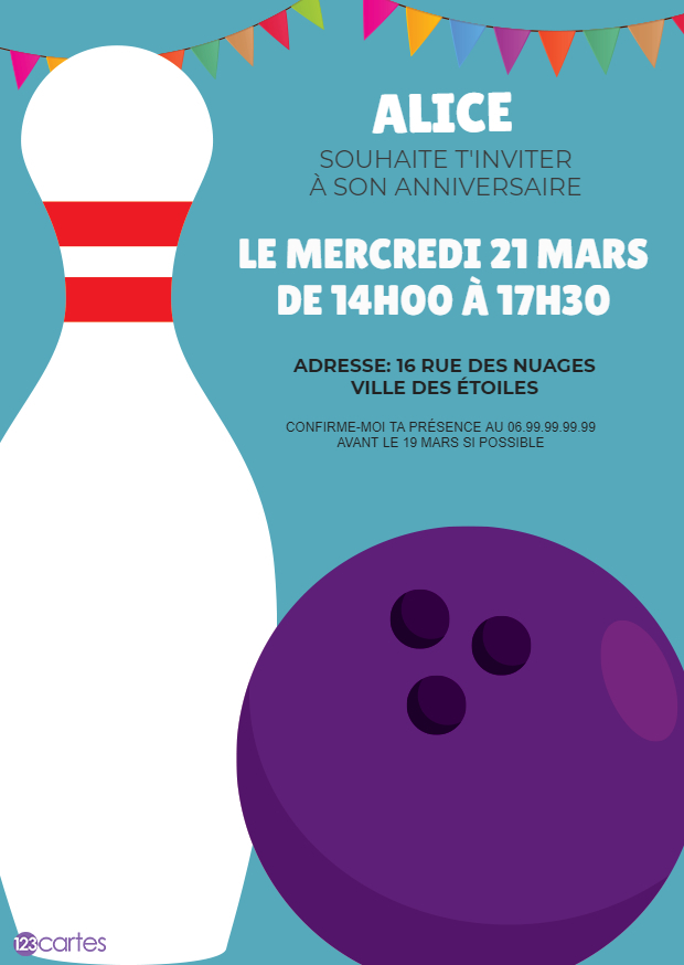 quille bowling invitation