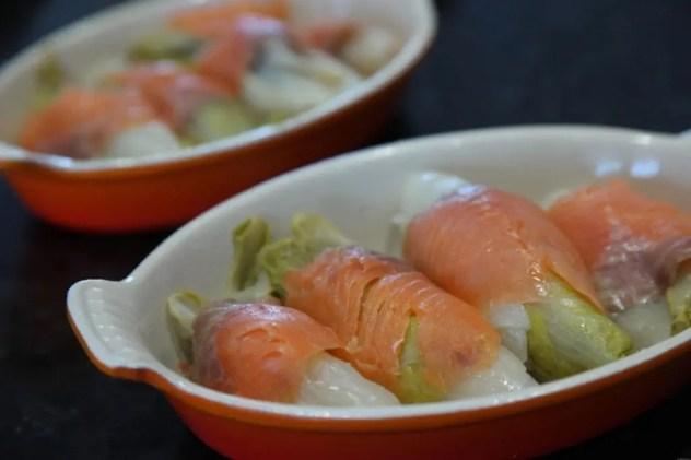 gratin endives au saumon et noisettes
