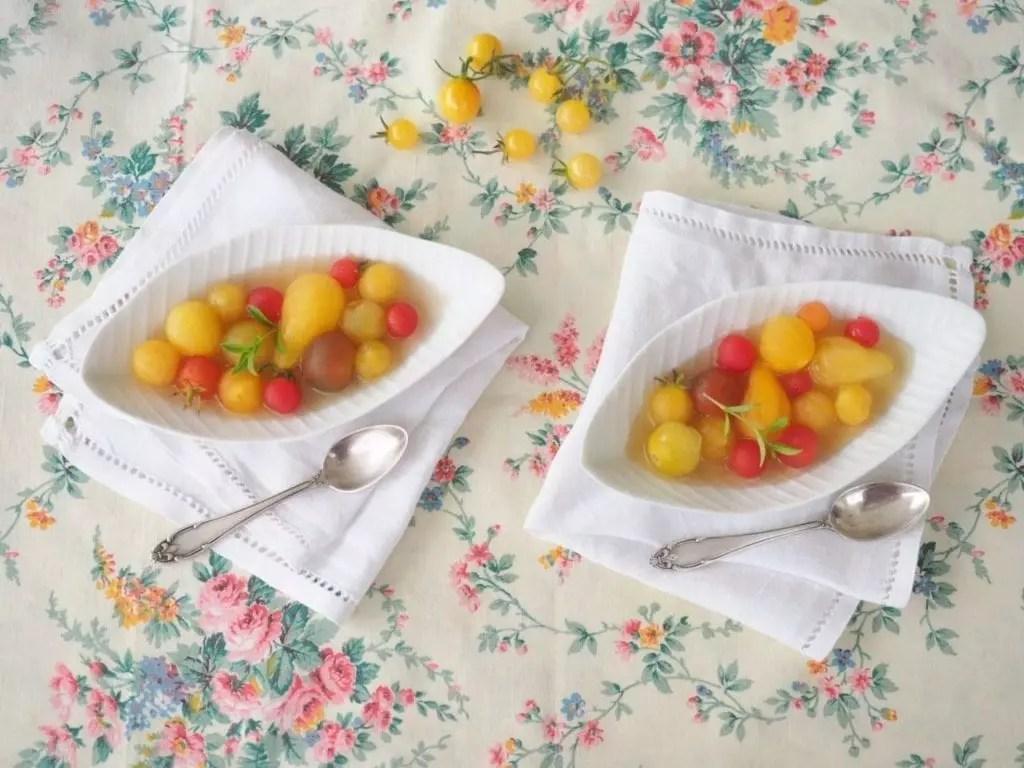 tomates cerises en gelée d'estragon