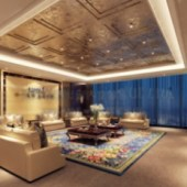 Luxury Living Room Interior 3D Scene