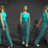 Movement Female Character Free 3dmax Model