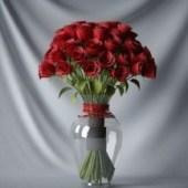 Plant Rose Glass Pot