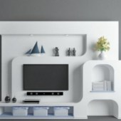 Elegant Tv Wall Design Free 3dmax Model