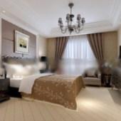 Hotel Double Bedroom Interior Scene Free 3dmax Model