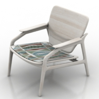 White Wooden Chair Free 3dmax Model
