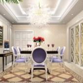 European Modern Noble White Purple Restaurant