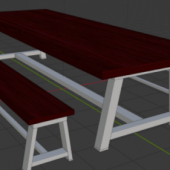 Wooden Metal Legs Dining Table