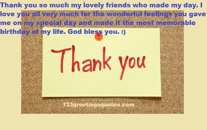 Thank You Quotes For Birthday Wishes to write on facebook timeline