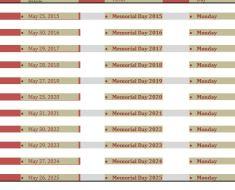 Memorial Day Weekend Calendar 2015 to 2025 {Printable} memorial day weekend calender 2015 2016 2017 2018