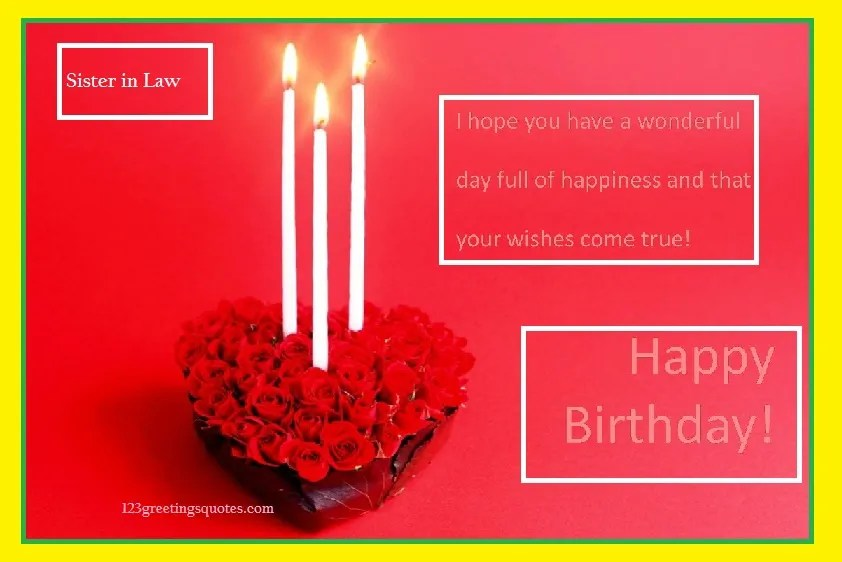 Happy birthday wishes to sister in law