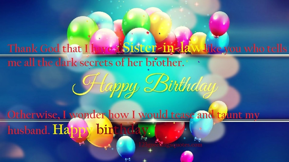 birthday wishes to sister in law