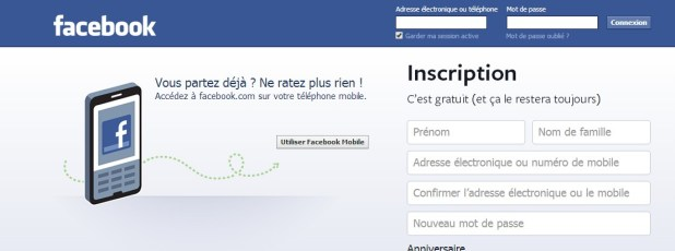 page d'accueil Facebook