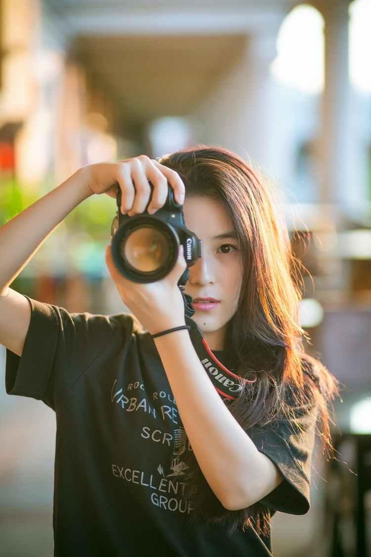 woman camera girl photographer