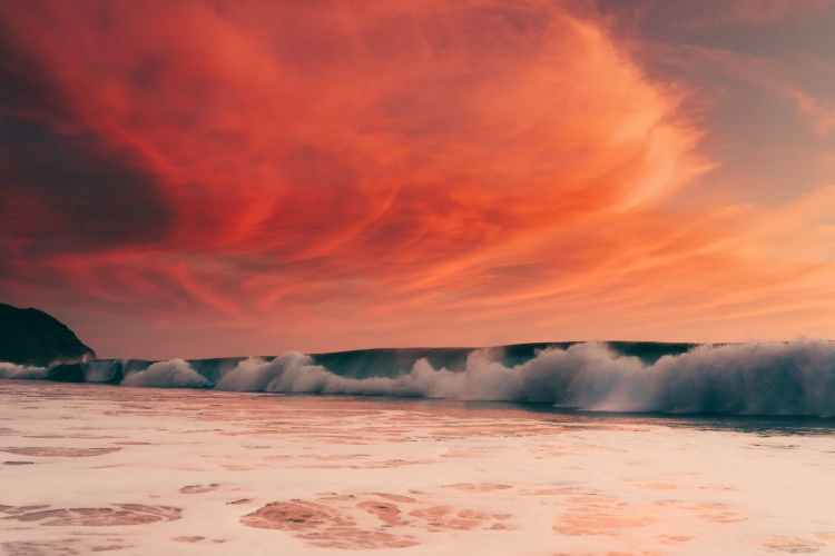 stormy sea and cloudy sky at sunset