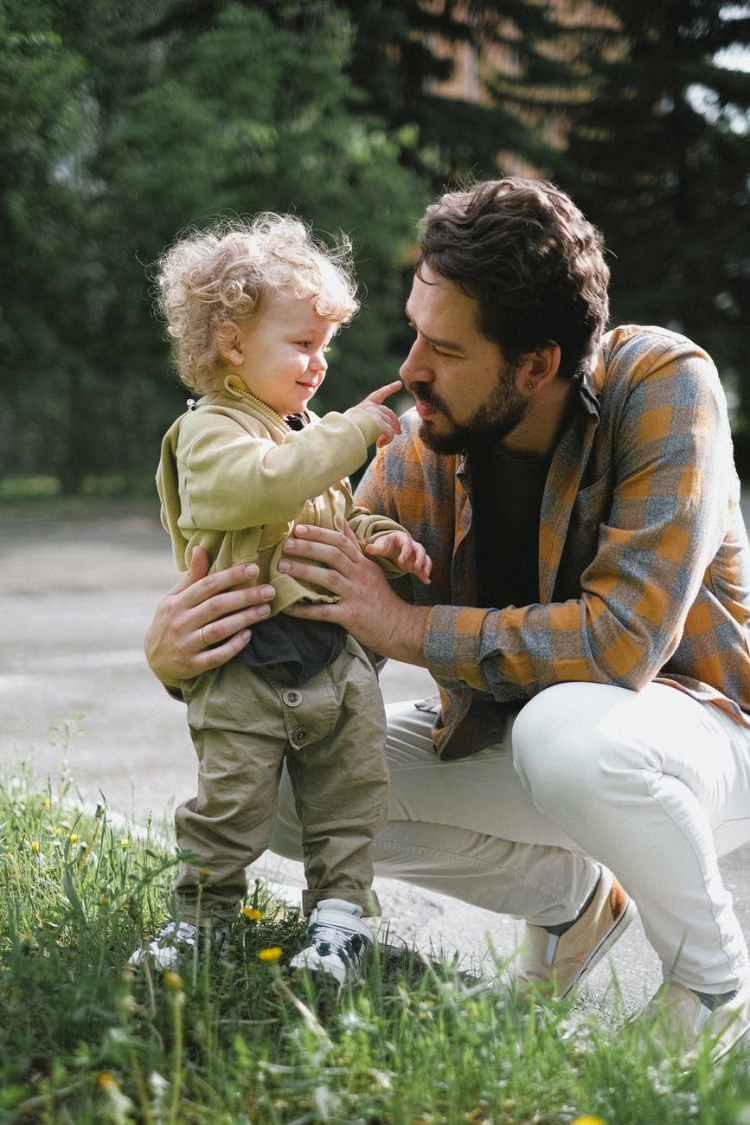 father and son outside