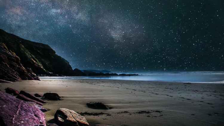 seashore during nighttime
