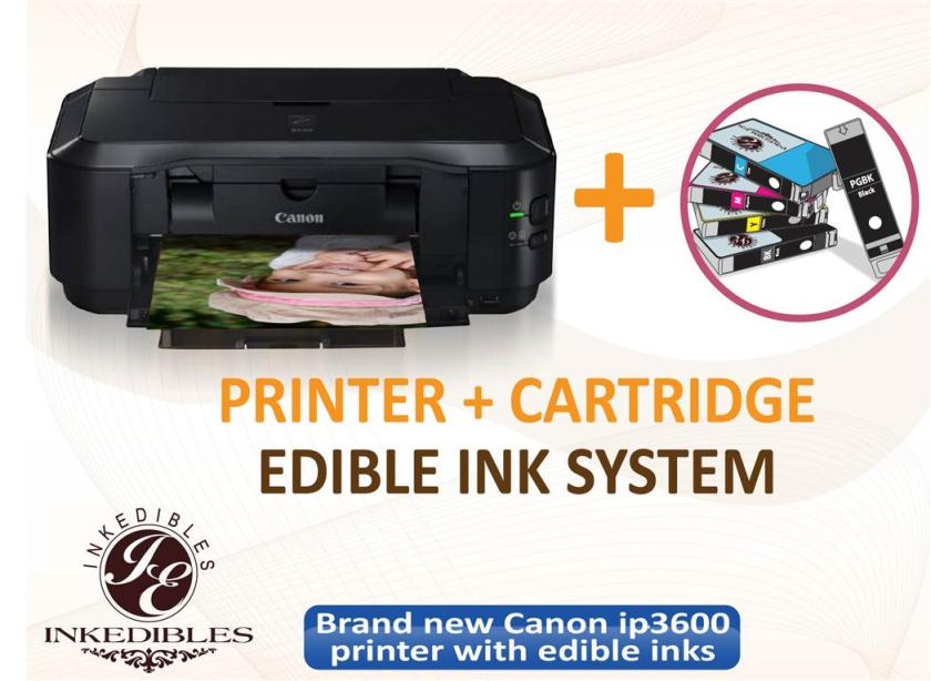 Inkedibles Canon ip3600 Bundled Printing System - includes brand new printer with complete set of edible ink cartridges