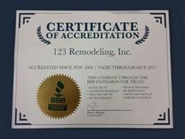 2017 Better Business Bureau Certificate of Accreditation