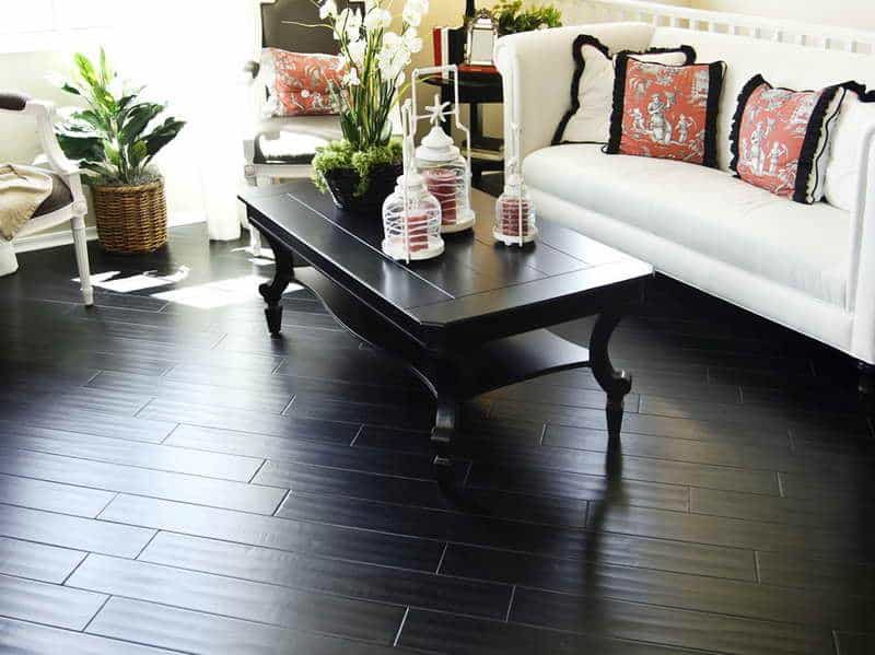Black-Hardwood-Floor-Very-Nice-Decorative-Look-with-plants